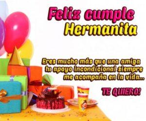 Felicidades en tu cumpleaños hermana