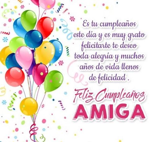 Feliz cumpleaños amiga querida