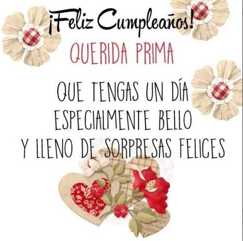 Felicidades en tu cumpleaños prima