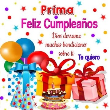 Prima querida feliz cumpleaños
