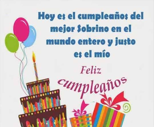 feliz cumpleaños sobrino torta y regalos