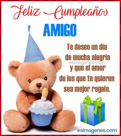 tarjeta de cumpleaños con oso y regalo