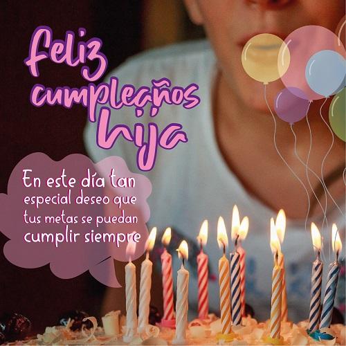 feliz cumpleaños para una hija mensaje con pastel y velas