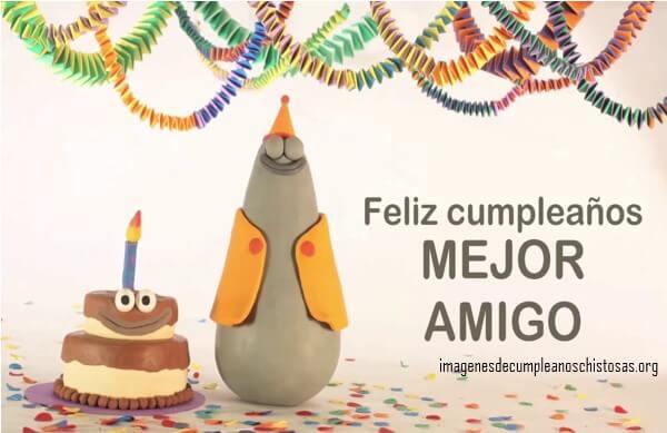 feliz cumpleaños mejor amigo pastel y muñequitos