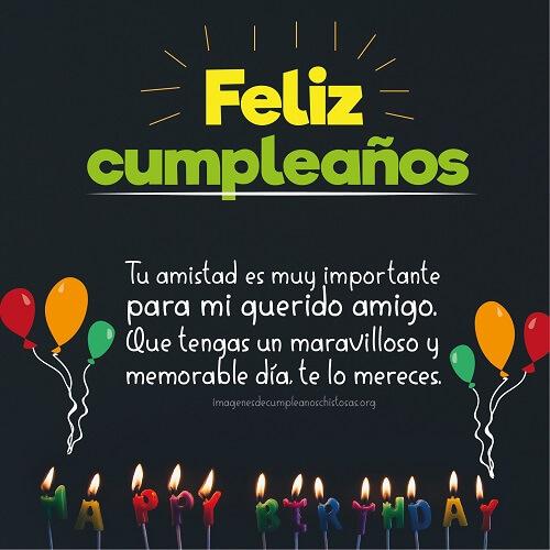 feliz cumpleaños velas y globos mensaje