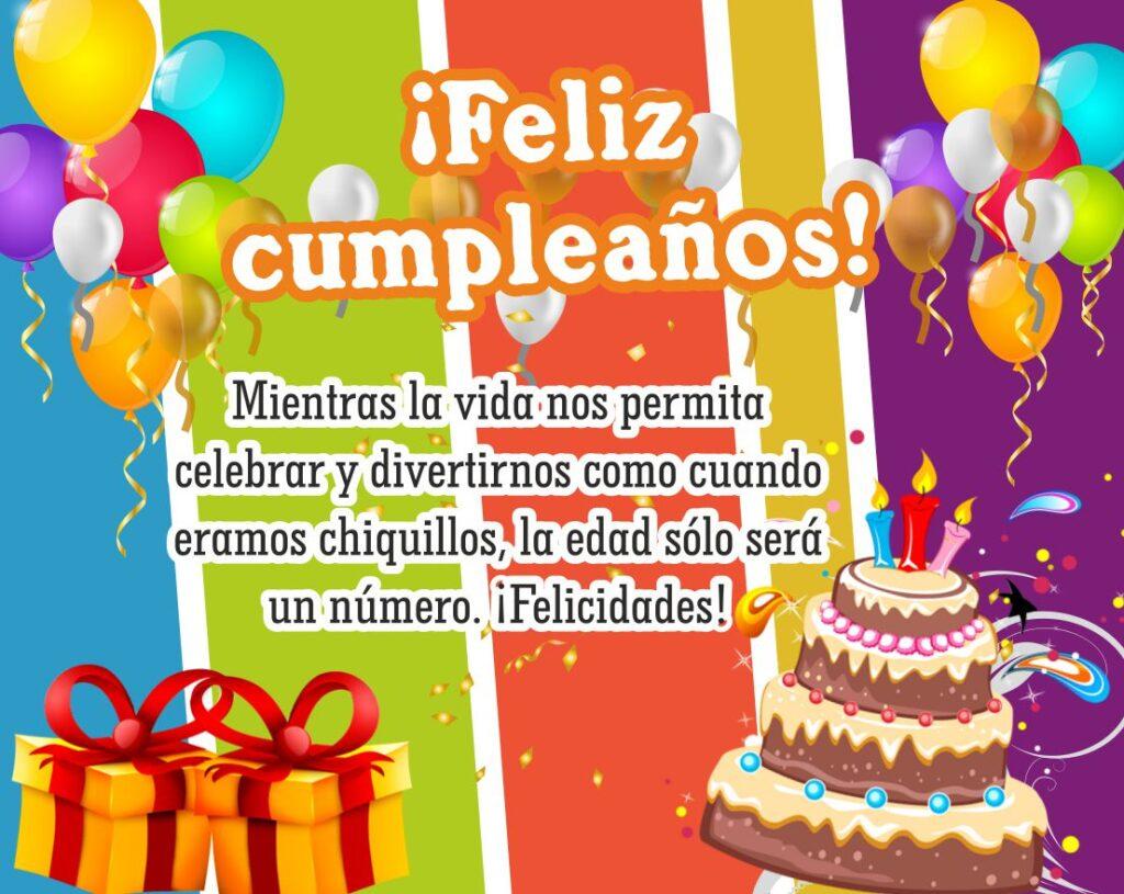 tarjeta de feliz cumpleaños con pastel y globos