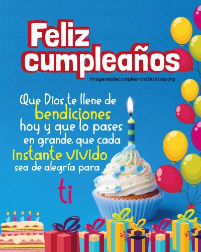feliz cumpleaños Dios te llene de bendiciones