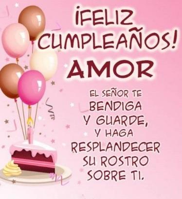 feliz cumpleaños amor con pastel y globos