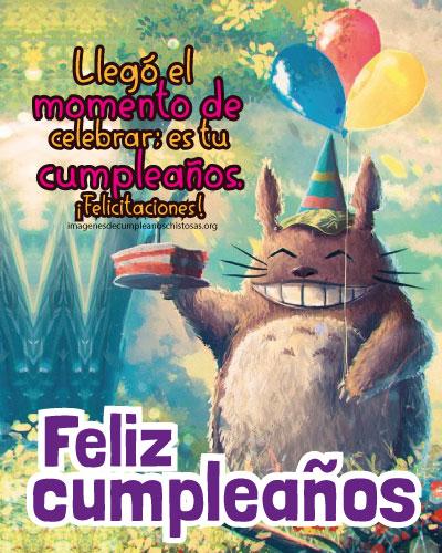 feliz cumpleaños niños gato sonriente con pastel y globos