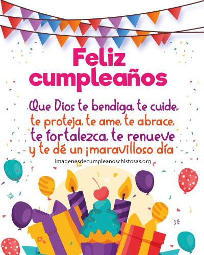 mensaje de feliz cumpleaños con regalos y globos
