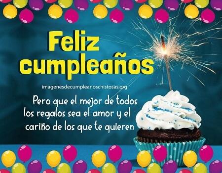 feliz cumpleaños cariño con bombas y pastel